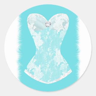 Aqua Blue & White Glam Lingerie Shower Party Favor Classic Round Sticker