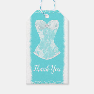 Aqua Blue & White Glam Lingerie Shower Party Gift Tags