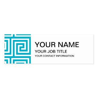 Aqua Blue White Greek Key Pattern Business Card Template