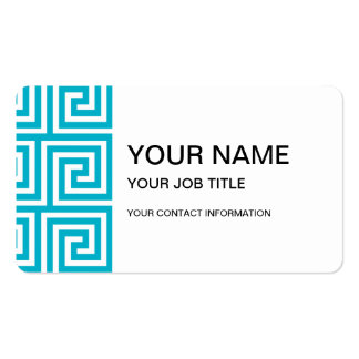 Aqua Blue White Greek Key Pattern Pack Of Standard Business Cards