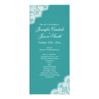 Aqua Blue White Lace Vertical Wedding Programs Full Color Rack Card