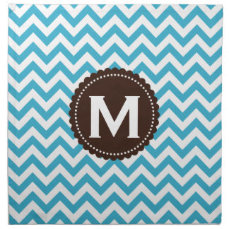 Aqua Blue White Monogram Chevron Pattern Printed Napkins