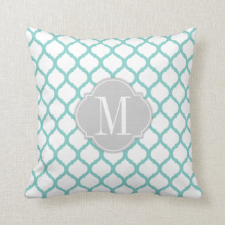 Aqua blue & White Moroccan Pattern with Monogram Pillow