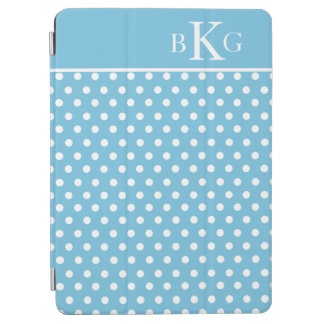 Aqua Blue White Polka Dots Custom Monogram iPad Air Cover