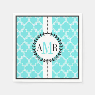 Aqua blue, white quatrefoil pattern wedding disposable serviette
