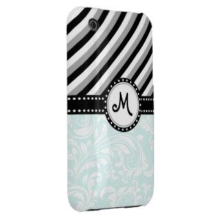 Aqua blue with Black and Grey stripes & monogram Case-Mate iPhone 3 Case