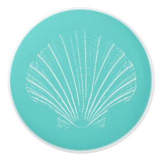 Aqua Blue with White Sea Shell Ceramic Knob