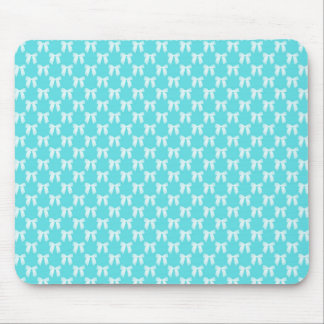 Aqua Blue With White Wedding Bow Mouse Pads