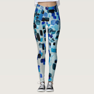 Aqua Blue Wood Art Painted Leggings