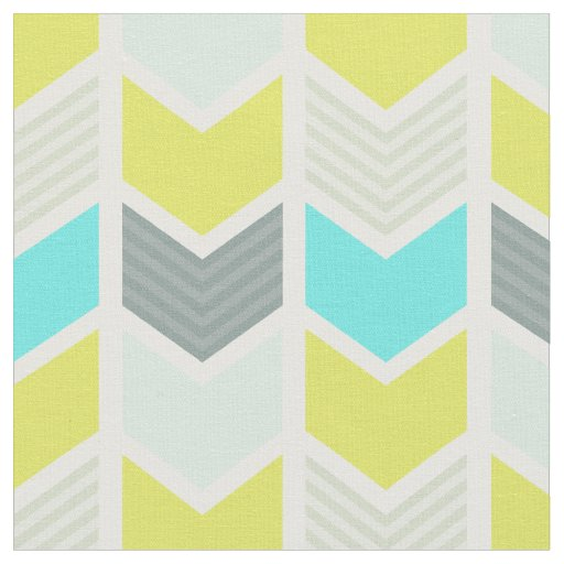 Aqua Blue Yellow Grey Geometric Chevron Pattern Fabric ...