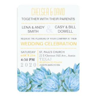 Aqua Blue & Yellow Succulent Modern Chic Wedding 13 Cm X 18 Cm Invitation Card