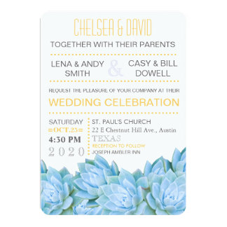 Aqua Blue & Yellow Succulent Modern Chic Wedding Card