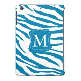 Aqua Blue Zebra Print Monogram iPad Mini Cases