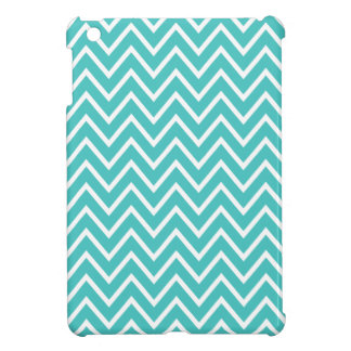 Aqua blue zigzag chevron pattern trendy iPad mini cover