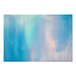 'Aqua Blush Abstract' Watercolor Poster