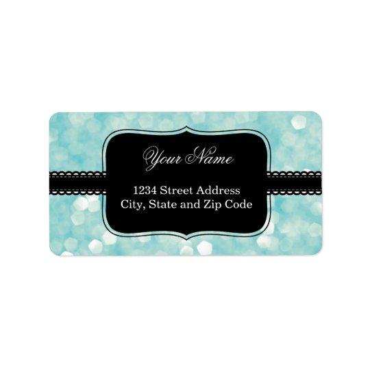 Aqua Bokeh Glitter Sparkles Address Label