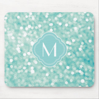 Aqua Bokeh Lights Glitter Sparkles and Monogram Mouse Pad