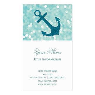 Aqua Bokeh Nautical Glitter Anchor Pack Of Standard Business Cards