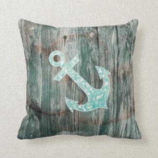 Aqua Bokeh Nautical Glitter Anchor on Wood Cushion
