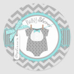 Aqua Bow Tie & Chevron Print Baby Shower Round Sticker