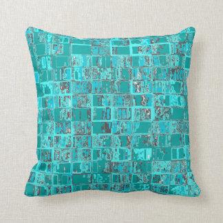 Aqua Brick Wall Squares Pillow
