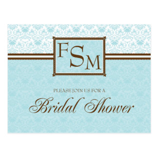 Aqua Brown Bridal Shower Postcard