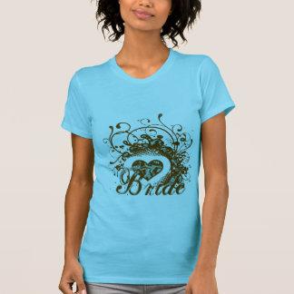 Aqua Brown Damask Grunge Winged Heart  Bride Tee