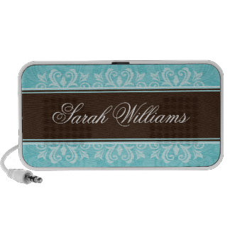 Aqua brown damask portable personalized speakers