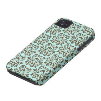 Aqua brown vintage floral damask pattern case iPhone 4 covers