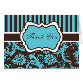 Aqua, Brown, White Damask Thank You Note Card