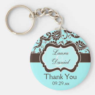Aqua, Brown, White Damask Wedding Favor Keychain