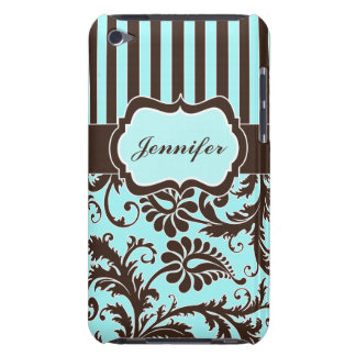 Aqua, Brown, White Striped Damask iPod Touch Case