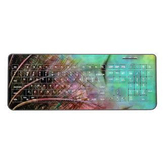 Aqua Bubbles N Peacock Feathers Wireless Keyboard