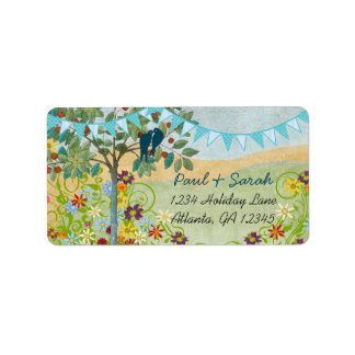 Aqua Bunting Vintage Love Birds Damask Hills Label