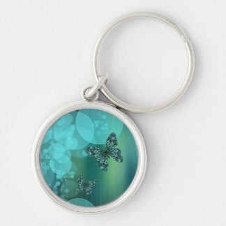Aqua Butterflies Tropical Keyring Silver-Colored Round Key Ring
