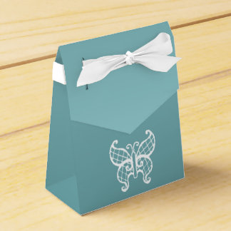 Aqua Butterfly Favor Box