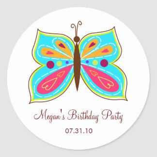 Aqua Butterfly Favor Tags / Cake Topper Stickers Round Sticker
