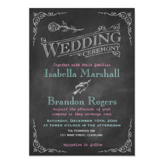 Aqua Chalk Wedding Invitation