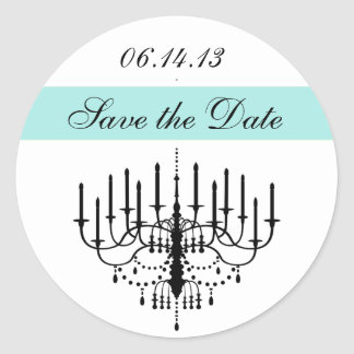 Aqua Chandelier Save the Date Stickers