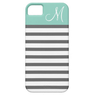 Aqua & Charcoal Preppy Stripes Custom Monogram iPhone 5 Case