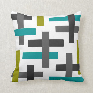 Aqua, Chartreuse and Grey Abstract Art Cushion