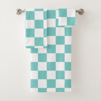 Aqua Checkerboard Bath Towel Set
