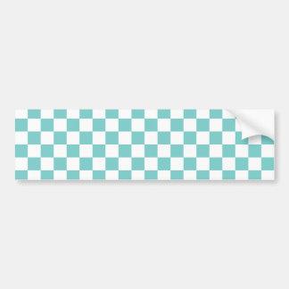 Aqua Checkerboard Pattern Bumper Sticker
