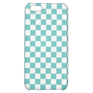 Aqua Checkerboard Pattern Case For iPhone 5C