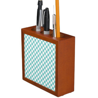Aqua Checkerboard Pattern Desk Organiser