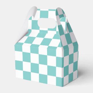 Aqua Checkerboard Pattern Favour Box