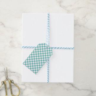 Aqua Checkerboard Pattern Gift Tags