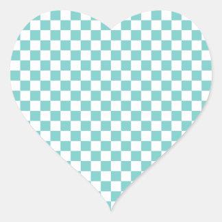 Aqua Checkerboard Pattern Heart Sticker