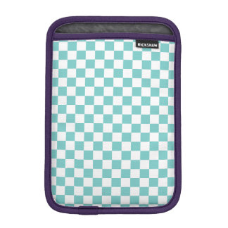 Aqua Checkerboard Pattern iPad Mini Sleeve