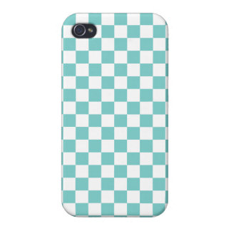 Aqua Checkerboard Pattern iPhone 4 Cover
